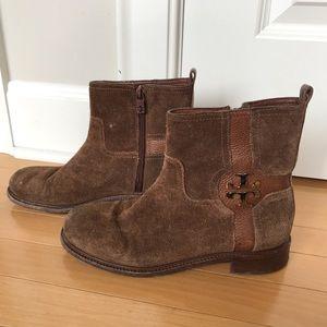 TORY BURCH brown suede booties women's boots